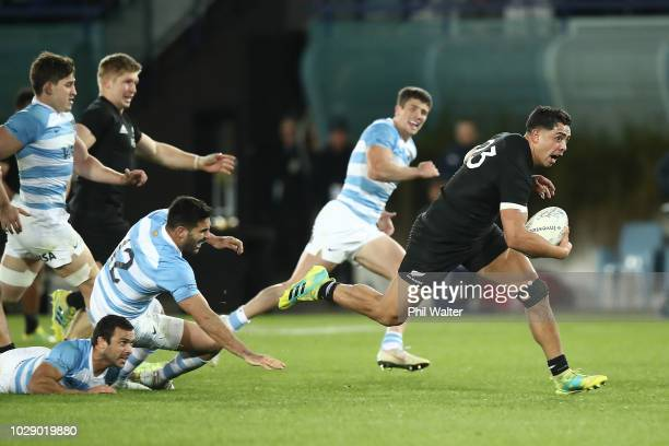 Anton LienertBrown of the New Zealand All Blacks makes a break during The Rugby Championship match between the New Zealand All Blacks and Argentina...
