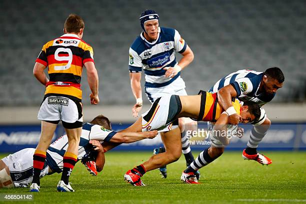Anton LienertBrown of Waikato is tackled during the ITM Cup match between Auckland and Waikato at Eden Park on October 2 2014 in Auckland New Zealand