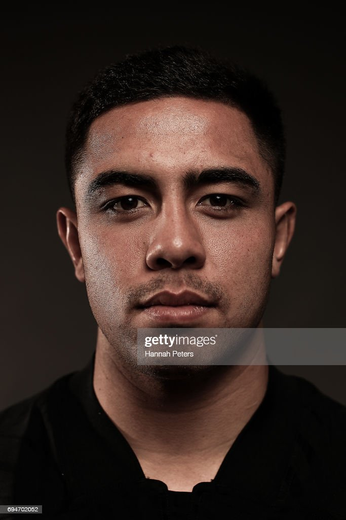 Anton Lienert-Brown poses for a portrait during the New Zealand All Blacks Headshots Session on June 11, 2017 in Auckland, New Zealand.