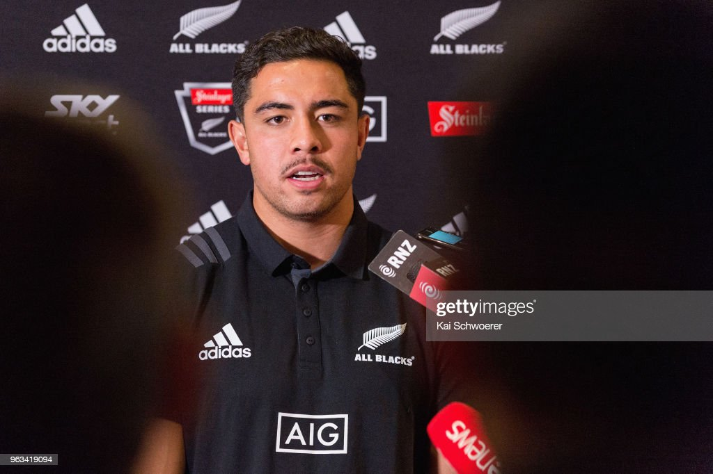 Anton Lienert-Brown speaks to the media during a New Zealand All Blacks press conference on May 29, 2018 in Christchurch, New Zealand.