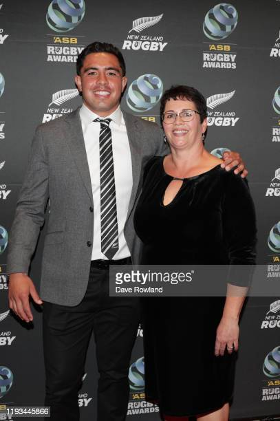 Anton LienertBrown with mother Anne LienertBrown during the New Zealand Rugby Awards at the Sky City Convention Centre on December 12 2019 in...