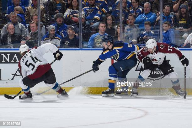 Anton Lindholm and JT Compher of the Colorado Avalanche battle Vladimir Tarasenko of the St Louis Blues for the puck at Scottrade Center on February...