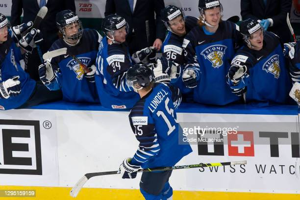 Anton Lundell of Finland celebrates a goal against Russia during the 2021 IIHF World Junior Championship bronze medal game at Rogers Place on January...