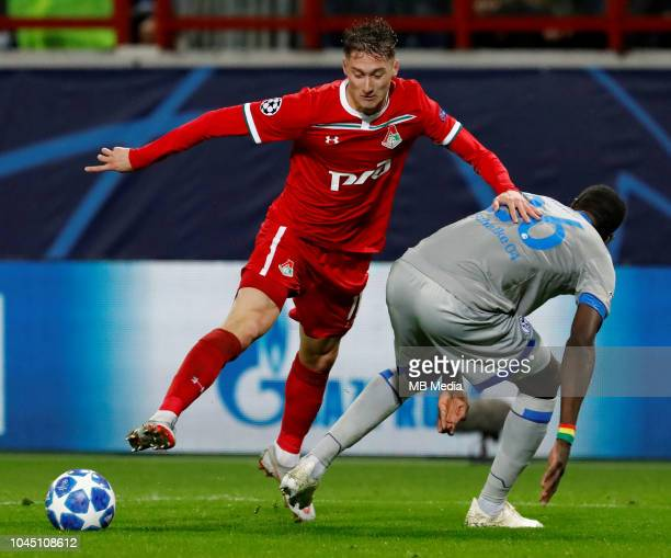 Anton Miranchuk of FC Lokomotiv Moscow and Breel Embolo of FC Schalke 04 vie for the ball during the Group D match of the UEFA Champions League...