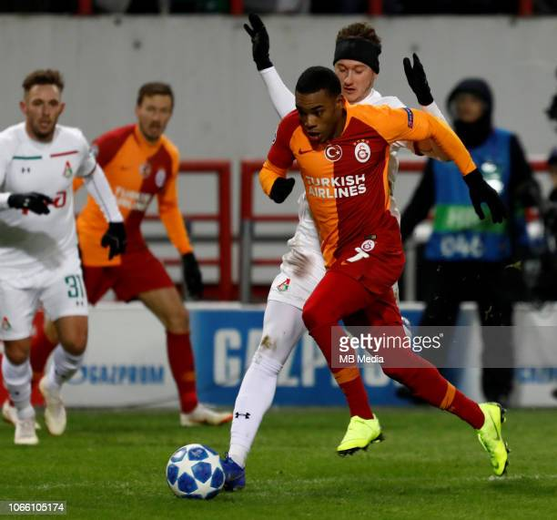 Anton Miranchuk of FC Lokomotiv Moscow and Garry Rodrigues of Galatasaray vie for the ball during the Group D match of the UEFA Champions League...