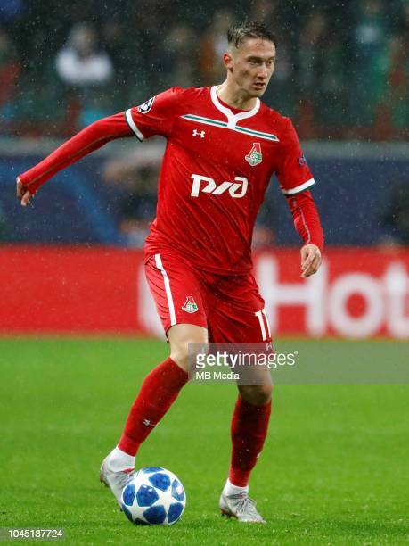 Anton Miranchuk of FC Lokomotiv Moscow in action during the Group D match of the UEFA Champions League between FC Lokomotiv Moscow and FC Schalke 04...
