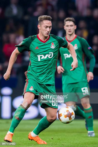 Anton Miranchuk of FC Lokomotiv Moscow in action during the UEFA Europa League 201718 Round of 16 match between Atletico de Madrid and FC Lokomotiv...