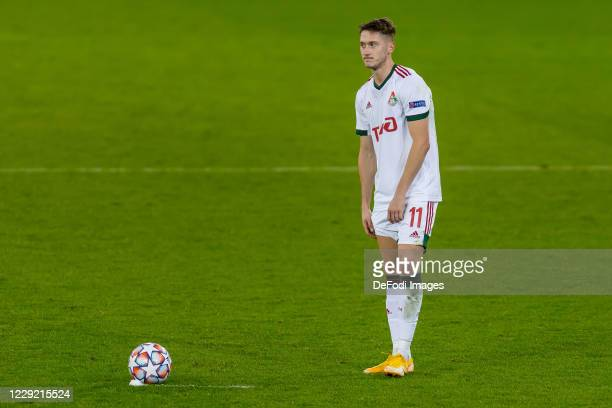 Anton Miranchuk of FC Lokomotiv Moskva looks on during the UEFA Champions League Group A stage match between RB Salzburg and Lokomotiv Moskva at Red...