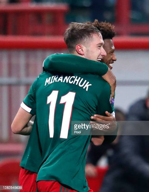 Anton Miranchuk of Lokomotiv Moscow celebrates after he scores his team's first goal during the UEFA Champions League Group A stage match between...