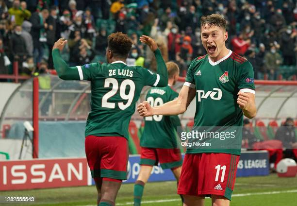Anton Miranchuk of Lokomotiv Moscow celebrates during the UEFA Champions League Group A stage match between Lokomotiv Moskva and FC Bayern Muenchen...