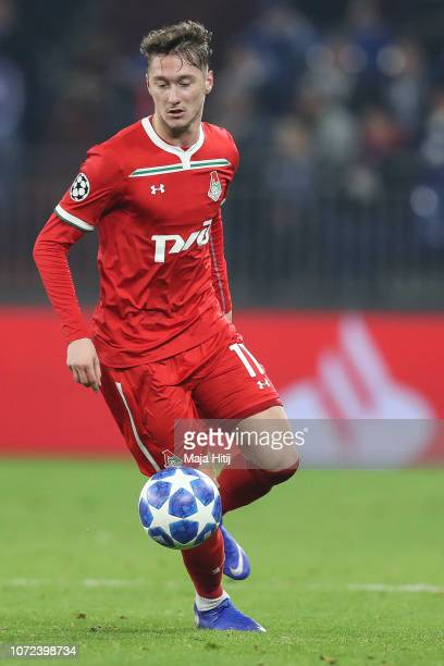 Anton Miranchuk of Lokomotiv Moscow controls the ball during the UEFA Champions League Group D match between FC Schalke 04 and FC Lokomotiv Moscow at...