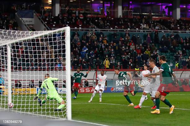 Anton Miranchuk of Lokomotiv Moscow scores his team's first goal during the UEFA Champions League Group A stage match between Lokomotiv Moskva and FC...