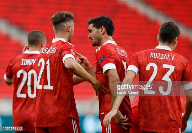 Anton Miranchuk of Russia celebrates his goal with Magomed Ozdoev of Russia during the UEFA Nations League group stage match between Hungary and...