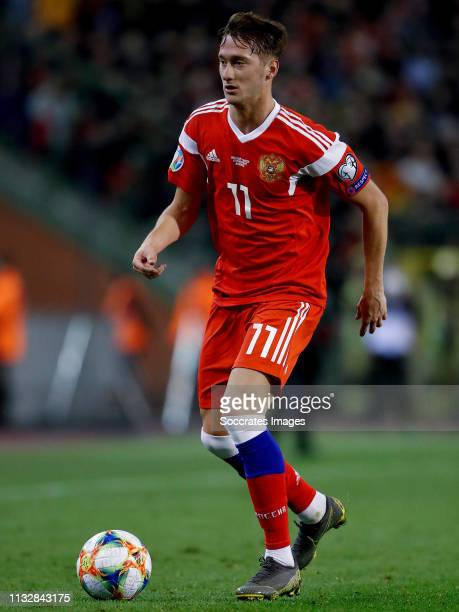 Anton Miranchuk of Russia during the EURO Qualifier match between Belgium v Russia at the Koning Boudewijn Stadium on March 21, 2019 in Brussel...