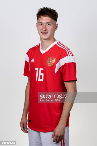 Anton Miranchuk of Russia poses for a portrait during the official FIFA World Cup 2018 portrait session at Federal Sports Centre Novogorsk on June 8...