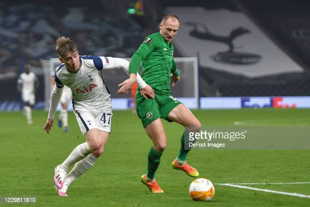 Anton NEDYALKOV of Ludogorets and Jack Clarke of Tottenham Hotspur battle for the ball during the UEFA Europa League Group J stage match between...