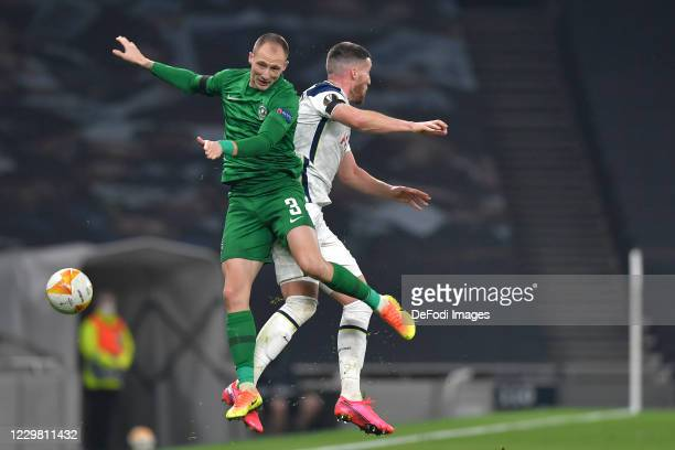 Anton Nedyalkov of Ludogorets and Matt Doherty of Tottenham Hotspur battle for the ball during the UEFA Europa League Group J stage match between...