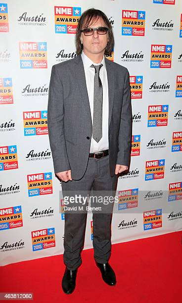 Anton Newcombe arrives at the NME Awards at Brixton Academy on February 18 2015 in London England