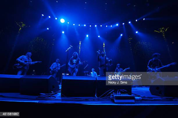 Anton Newcombe Collin Hegna Dan Allaire Matt Hollywood Frankie Emerson Joel Gion and Ricky Maymi of The Brian Jonestown Massacre perform on stage at...