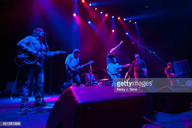 Anton Newcombe Collin Hegna Dan Allaire Matt Hollywood Joel Gion and Ricky Maymi of The Brian Jonestown Massacre perform on stage at the Roundhouse...
