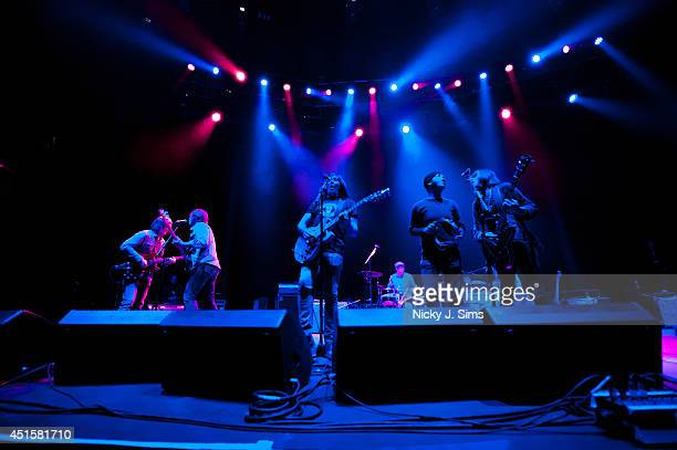Anton Newcombe Collin Hegna Matt Hollywood Dan Allaire Joel Gion and Frankie Emerson of The Brian Jonestown Massacre perform on stage at the...