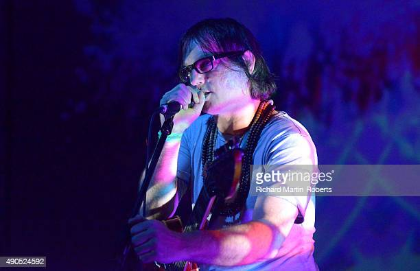 Anton Newcombe performs on stage during Day 1 of the Liverpool International Festival of Psychedelia at Camp Furnace on September 25 2015 in...