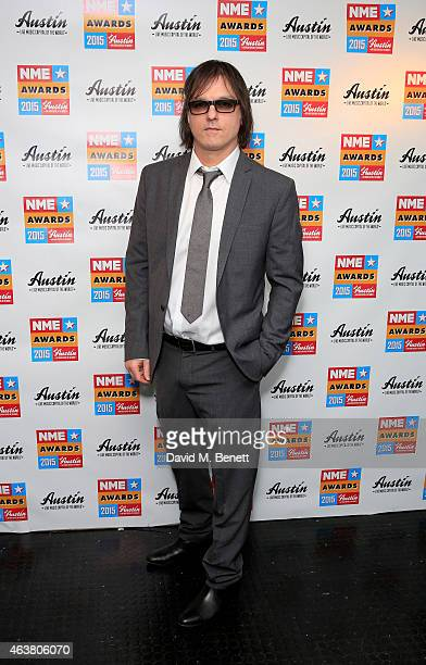 Anton Newcombe poses in the winner's room at the NME Awards at Brixton Academy on February 18 2015 in London England