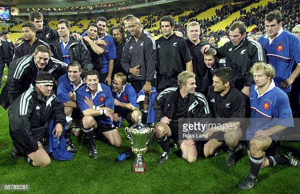 Anton Oliver and the All Blacks pose with Dave Gallaher cup after their 3712 win over France in the rugby test at WestpacTrust Stadium Wellington...