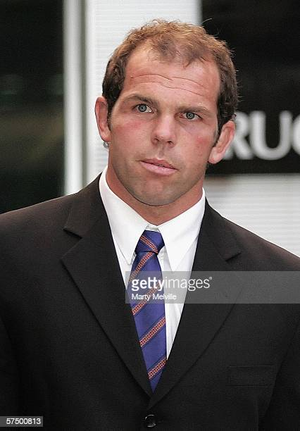 Anton Oliver, captain of the Highlanders, walks from the New Zealand Rugby Union headquarters after a SANZAR Judicial hearing May 01, 2006 in...
