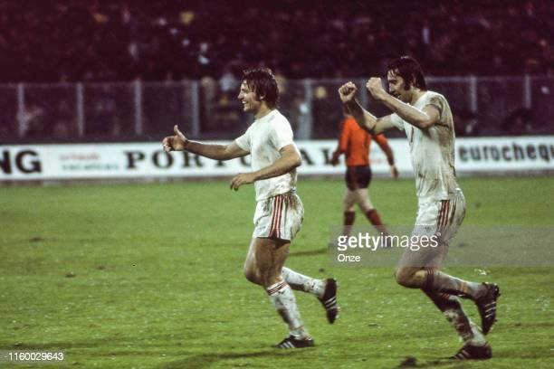 Anton Ondrus celebrates with his teammate from Czechoslovakia during Euro 1976 match between the Netherlands and Czechoslovakia at Stadion Maksimir,...