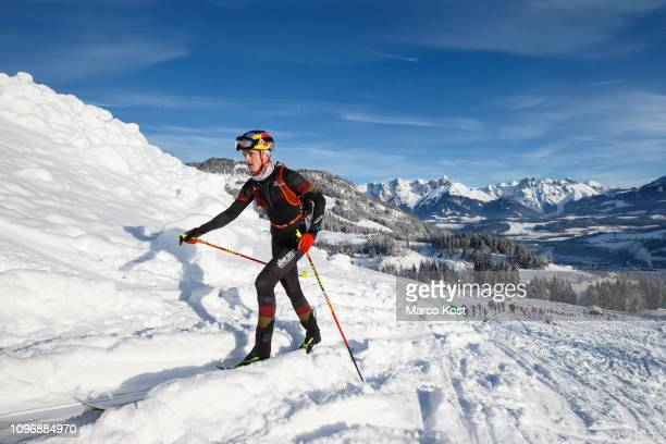 Anton Palzer of Gemany ascends during the ISMF Ski Mountaineering Worldcup individual race on January 20 2019 in Bischofshofen Austria