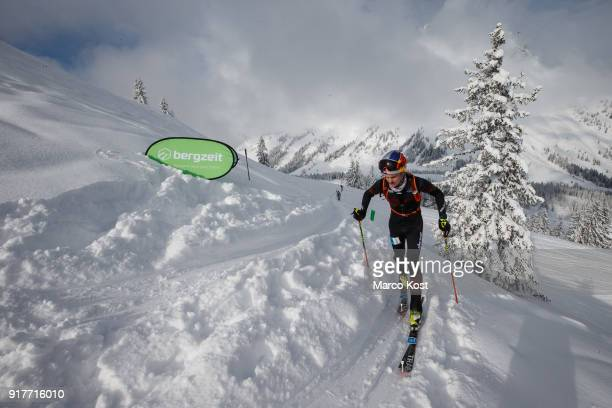 Anton Palzer of Germany ascends during the Individual race of the Hochkoenig Erztrophy Skimountaineering competition on February 05 2017 in...