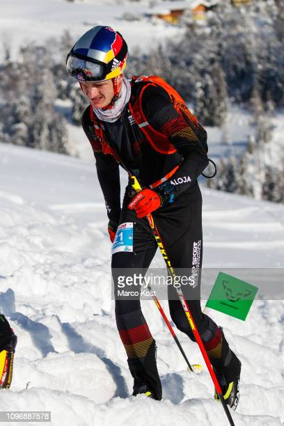 Anton Palzer of Germany ascends during the ISMF Ski Mountaineering Worldcup individual race on January 20 2019 in Bischofshofen Austria