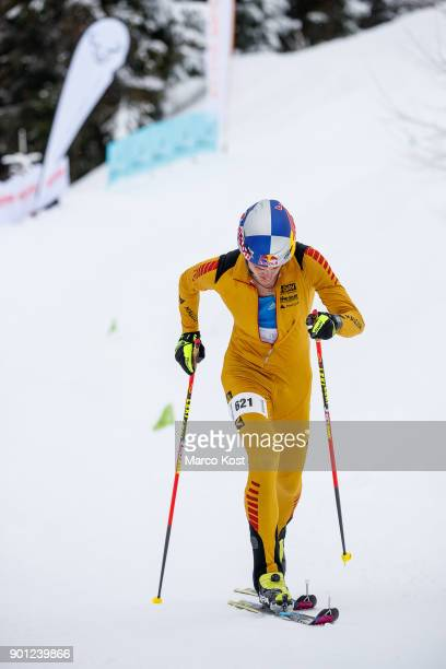 Anton Palzer of Germany competes during the Vertical race of the Jennerstier German Ski Mountaineering Championships on February 18 2017 in...