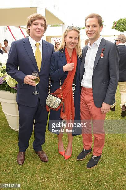 Anton Rupert Hanneli Rupert and Simon Pickett attend The Cartier Queen's Cup final at Guards Polo Club on June 14 2015 in Egham England