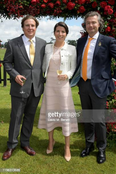 Anton Rupert Jr, Alice Rivier and Laurent Feniou attend The Cartier Queen's Cup Polo Final 2019 on June 16, 2019 in Windsor, England.