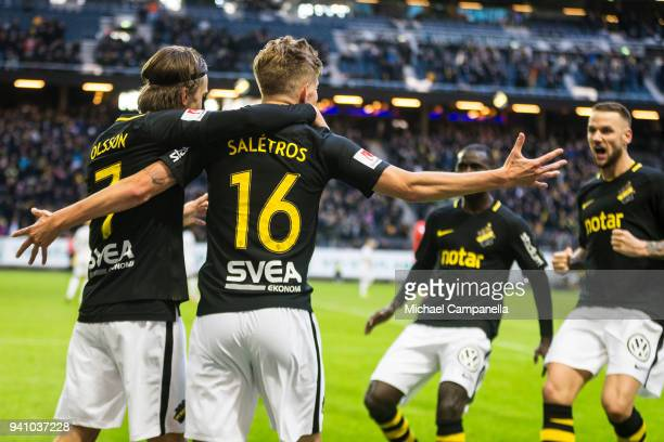 Anton Saletros and Kristoffer Olsson of AIK celebrate scoring the 20 during an Allsvenskan match between AIK and Dalkurd FF at Friends arena on April...