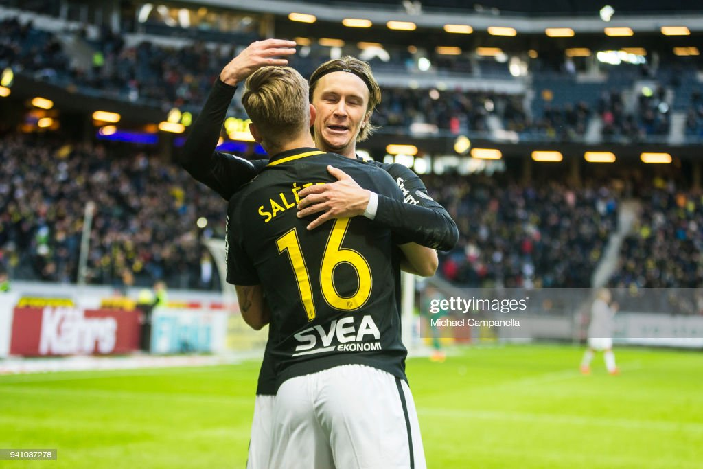 Anton Saletros and Kristoffer Olsson of AIK celebrate scoring the 2-0 during an Allsvenskan match between AIK and Dalkurd FF at Friends arena on April 2, 2018 in Solna, Sweden.