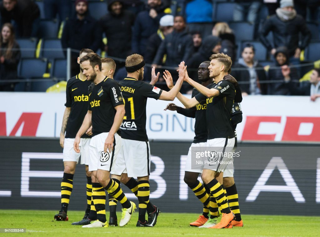 Anton Saletros of AIK celebrates after scoring to 2-0 during the Allsvenskan match between AIK and Dalkurd FF at Friends Arena on april 2, 2018 in Solna, Sweden.
