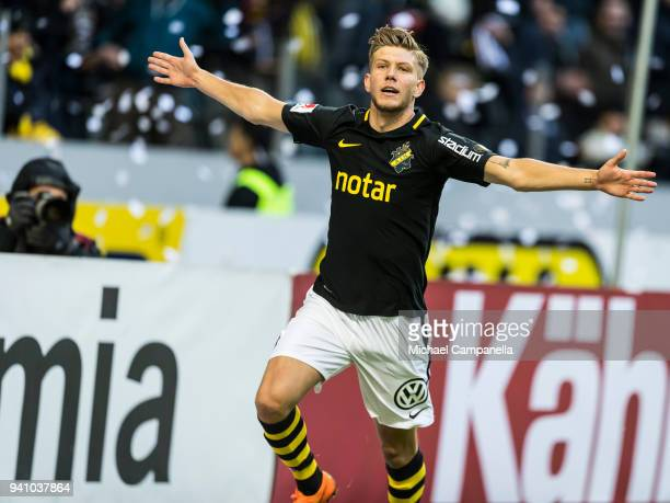 Anton Saletros of AIK celebrates scoring the 20 goal during an Allsvenskan match between AIK and Dalkurd FF at Friends arena on April 2 2018 in Solna...