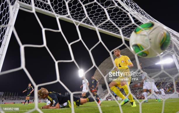 Anton Saletros of Sweden scores the third goal during the FIFA U17 World Cup group F match between Iraq and Sweden at Khalifa Bin Zayed Stadium on...