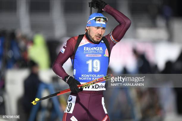 Anton Shipulin of Russia arrives at the shooting range during the men's 10km sprint event at the IBU Biathlon World Cup in Kontiolahti Finland on...