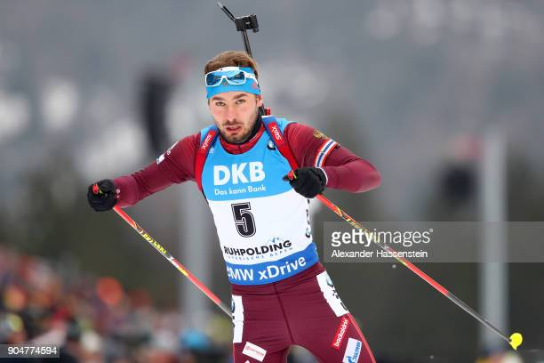 Anton Shipulin of Russia competes at the men's 15km mass start competition during the IBU Biathlon World Cup at Chiemgau Arena on January 14 2018 in...