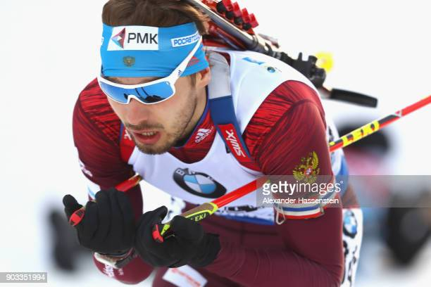 Anton Shipulin of Russia competes at the men's 20km individual competition during the IBU Biathlon World Cup at Chiemgau Arenaon January 10 2018 in...