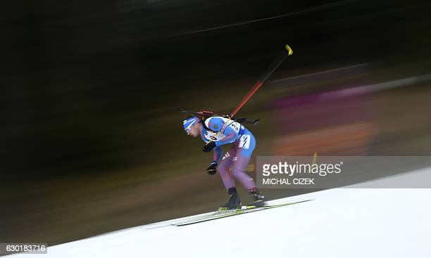 TOPSHOT Anton Shipulin of Russia competes during Men 15 Km mass start competition part of IBU World Cup Biathlon in Nove Mesto Czech Republic on...