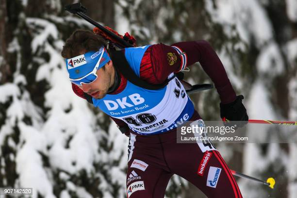 Anton Shipulin of Russia competes during the IBU Biathlon World Cup Men's Sprint on January 19 2018 in AntholzAnterselva Italy
