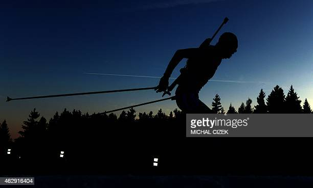 Anton Shipulin of Russia competes during the men's 10 km sprint competition part of IBU Biathlon World Cup in Nove Mesto Czech Republic on February 7...