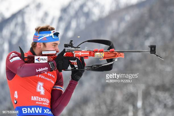 Anton Shipulin of Russia competes in the Men's 125 km Pursuit Competition of the IBU World Cup Biathlon in Anterselva on January 20 2018 PHOTO /...