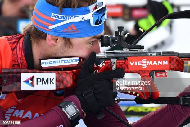Anton Shipulin of Russia competes in the Men's 125 km Pursuit Competition of the IBU World Cup Biathlon in Anterselva on January 20 2018 / AFP PHOTO...