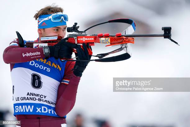 Anton Shipulin of Russia in action during the IBU Biathlon World Cup Men's and Women's Pursuit on December 16 2017 in Le Grand Bornand France